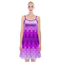 Geometric Cubes Pink Purple Blue Spaghetti Strap Velvet Dress