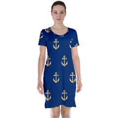 Gold Anchors Background Short Sleeve Nightdress by Nexatart