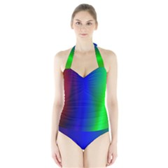 Graphics Gradient Colors Texture Halter Swimsuit by Nexatart