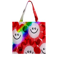 Happy Flowers Zipper Grocery Tote Bag
