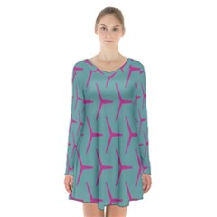 Pattern Background Structure Pink Long Sleeve Velvet V Neck Dress by Nexatart