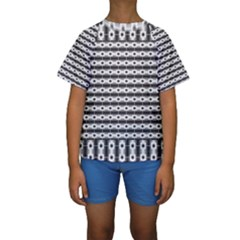 Pattern Background Texture Black Kids  Short Sleeve Swimwear