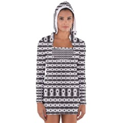Pattern Background Texture Black Women s Long Sleeve Hooded T-shirt