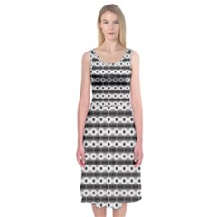 Pattern Background Texture Black Midi Sleeveless Dress