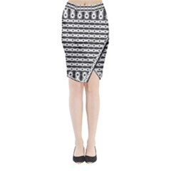 Pattern Background Texture Black Midi Wrap Pencil Skirt