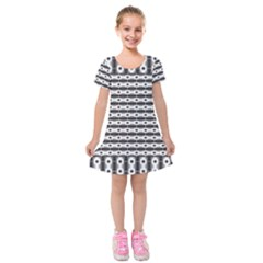 Pattern Background Texture Black Kids  Short Sleeve Velvet Dress