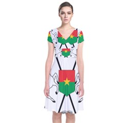 Coat Of Arms Of Burkina Faso Short Sleeve Front Wrap Dress