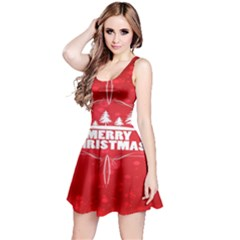 Red Bokeh Christmas Background Reversible Sleeveless Dress by Nexatart