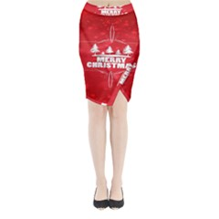 Red Bokeh Christmas Background Midi Wrap Pencil Skirt