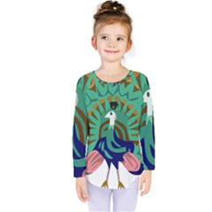 Burma Green Peacock National Symbol  Kids  Long Sleeve Tee