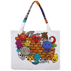 Graffiti Characters Flat Color Concept Cartoon Animals Fruit Abstract Around Brick Wall Vector Illus Mini Tote Bag by Foxymomma