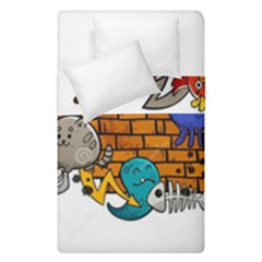 Graffiti Characters Flat Color Concept Cartoon Animals Fruit Abstract Around Brick Wall Vector Illus Duvet Cover Double Side (single Size)