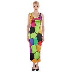 Stained Glass Abstract Background Fitted Maxi Dress by Nexatart