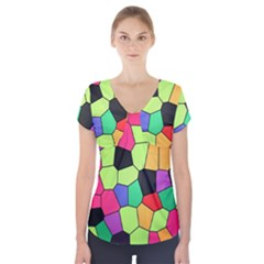 Stained Glass Abstract Background Short Sleeve Front Detail Top by Nexatart