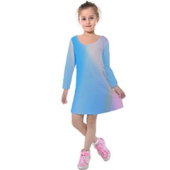 Twist Blue Pink Mauve Background Kids  Long Sleeve Velvet Dress