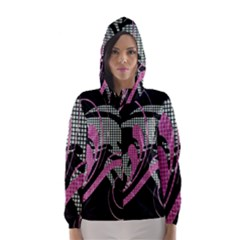 Violet Calligraphic Art Hooded Wind Breaker (women)