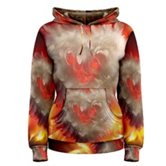 Arts Fire Valentines Day Heart Love Flames Heart Women s Pullover Hoodie