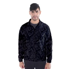 Black Rectangle Wallpaper Grey Wind Breaker (men)