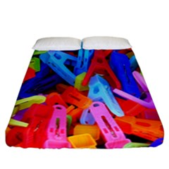 Clothespins Colorful Laundry Jam Pattern Fitted Sheet (california King Size)