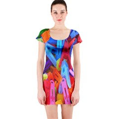 Clothespins Colorful Laundry Jam Pattern Short Sleeve Bodycon Dress