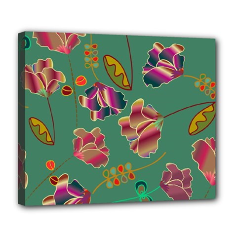 Flowers Pattern Deluxe Canvas 24  X 20   by Nexatart