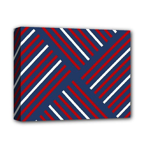 Geometric Background Stripes Red White Deluxe Canvas 14  X 11  by Nexatart