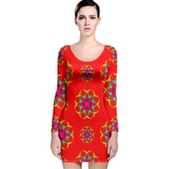 Geometric Circles Seamless Pattern Long Sleeve Velvet Bodycon Dress