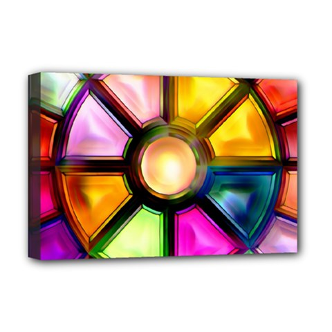 Glass Colorful Stained Glass Deluxe Canvas 18  X 12   by Nexatart