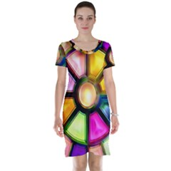 Glass Colorful Stained Glass Short Sleeve Nightdress by Nexatart