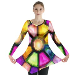 Glass Colorful Stained Glass Long Sleeve Tunic  by Nexatart