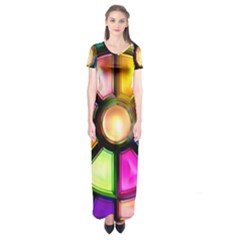 Glass Colorful Stained Glass Short Sleeve Maxi Dress by Nexatart