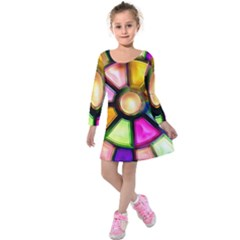 Glass Colorful Stained Glass Kids  Long Sleeve Velvet Dress