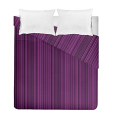 Deep Purple Lines Duvet Cover Double Side (full/ Double Size) by Valentinaart