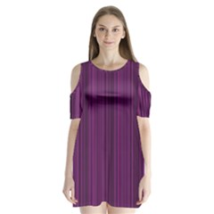 Deep Purple Lines Shoulder Cutout Velvet  One Piece by Valentinaart