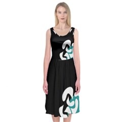 Elegant Abstraction Midi Sleeveless Dress