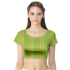 Green Lines Short Sleeve Crop Top (tight Fit)
