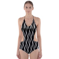 Elegant Black And White Pattern Cut Out One Piece Swimsuit by Valentinaart