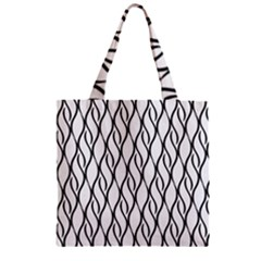 Black And White Elegant Pattern Zipper Grocery Tote Bag