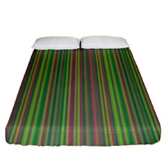 Green Lines Fitted Sheet (king Size) by Valentinaart