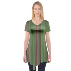 Green Lines Short Sleeve Tunic  by Valentinaart