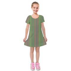 Green Lines Kids  Short Sleeve Velvet Dress
