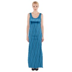 Blue Pattern Maxi Thigh Split Dress by Valentinaart