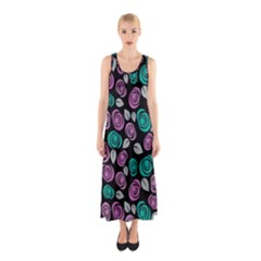 Roses Pattern Sleeveless Maxi Dress