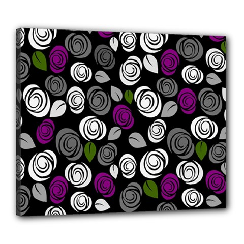 Purple Roses Pattern Canvas 24  X 20  by Valentinaart