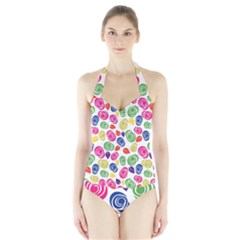 Colorful Roses Halter Swimsuit by Valentinaart