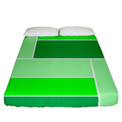 Green Shades Geometric Quad Fitted Sheet (queen Size) by Nexatart