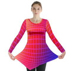 Grid Diamonds Figure Abstract Long Sleeve Tunic