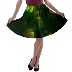 Light Fractal Plants A Line Skater Skirt