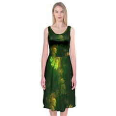 Light Fractal Plants Midi Sleeveless Dress