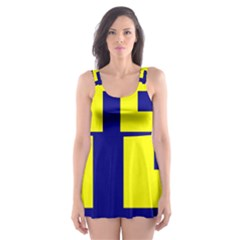 Pattern Blue Yellow Crosses Plus Style Bright Skater Dress Swimsuit by Nexatart